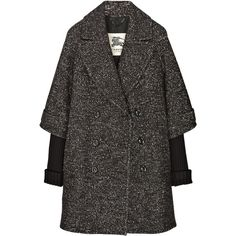 Wool-blend tweed cocoon coat (47,080 INR) ❤ liked on Polyvore featuring outerwear, coats, jackets, coats & jackets, burberry, tweed coats, tweed wool coat, cocoon coat, double breasted coat and double breasted wool blend coat