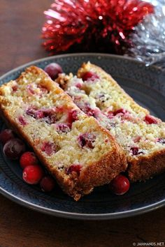 Moist orange quick bread studded with cranberries. Make this one the day before you plan to eat it and let it sit out overnight (covered)...