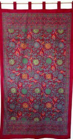 Handmade 100% Cotton Sunflower Tab Top Curtain Drape Door Panel Red