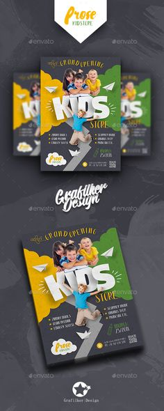 Buy Kids Store Flyer Templates by grafilker on GraphicRiver. Kids Store Flyer Templates Fully layered INDD Fully layered PSD 300 Dpi, CMYK IDML format open Indesign or later . Brochure Design, Flyer Design, Kids Graphic Design, Magazin Design, Party Invitations Kids, Magazines For Kids, Corporate Flyer, Kids Store, Logos