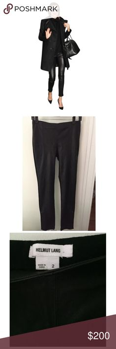 Helmut Lang Leather Jersey Pants Amazing pants! Leather in the front jersey in the back. Has stretch and zippers at the bottoms shown in pic. Actual pic of pants are 2-4. Helmut Lang Pants Skinny