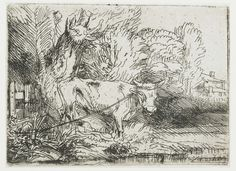 В деревне (1650) (76 х 105 мм) (офорт). Rembrandt Harmensz van Rijn (1606-1669)