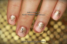 Gelish Peach and Gold Glitter Ombre nails by www.funkyfingersfactory.com