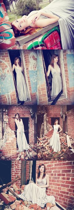 so a lot of these images are sort of creepy...but i love the idea of using a formal dress in an urban setting...