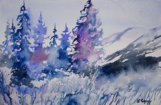 Original watercolor painting, 'Colorado Winter Wonderland', by Lynn Cyrus / Cascade Colors. Inspired by a snowy scene at Hoosier Pass, near Breckenridge, I chose to use cool blue and purple colors in this piece. Fresh snow covers the ground vegetation, pine trees, and distant mountain slopes of this Rocky Mountain landscape. I made use of a variety of water effects to create a softer, more realistic snowy ambience.