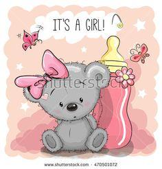 Cute Cartoon Teddy bear girl with feeding bottle