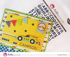 #Tarjetadeslizante hecha con los #papeles de #scrapbooking de la marca #española Anita y su mundo.  #tarjeta #DIY #tutorial #manualidades #manualidadesniños
