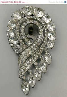 #Vintage Art Deco Rhinestone Dress Clip Brooch Signed Coro #jewelry by…