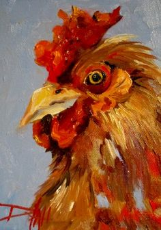 Looking at You Rooster, painting by artist Delilah Smith