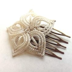 Ivory Pearl Bloom  French Beaded Flower Hair Comb by MorninGlorias