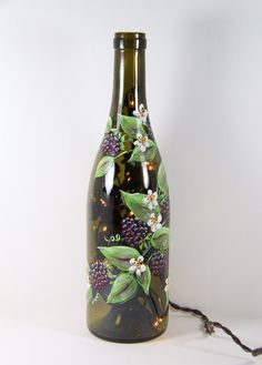 Hand Painted Wine Bottle Light With Black by ShortHenStudio, $25.00