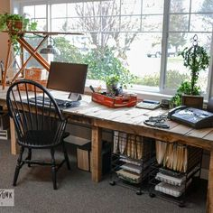 Ectra long desk or craft table.Decorating From Nothing to Something... a JUNKER S Full Home Tour.