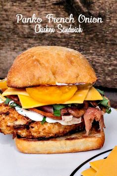 Panko French Onion Chicken Sandwich- crispy chicken, bacon, a rosemary mayo, heirloom tomatoes pair so well with cheese that melts to pull all the flavors together... yum! #iamdeliamerican #client