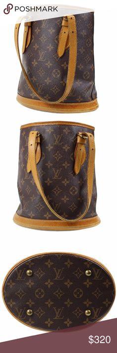LOUIS VUITTON Petit Bucket PM Shoulder Tote Bag M4 gently used  	     Inch     	  Height 	 10.5	  Depth	 6.2	  Length	11.0 Louis Vuitton Bags Shoulder Bags