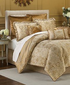 Excelsior Comforter Bedding Sets by Croscill Luxury Bedding Collections, Luxury Bedding Sets, Croscill Bedding, Full Comforter Sets, Gold Comforter, Queen Bedding, Bed In A Bag, Cool Beds, Bed Spreads