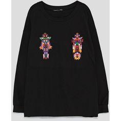 ROBOTS SWEATSHIRT - SWEATSHIRTS-WOMAN-SALE | ZARA United States (160 BRL) ❤ liked on Polyvore featuring tops, hoodies and sweatshirts