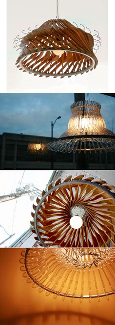 'Hangeliers' - chandeliers made from wooden and plastic coat hangers and bicycle wheel rims