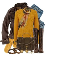 mustard & brown sweater - looser style or flowing blouse in this color  Jacket, (need something for indoors) and  scarf if solid top.