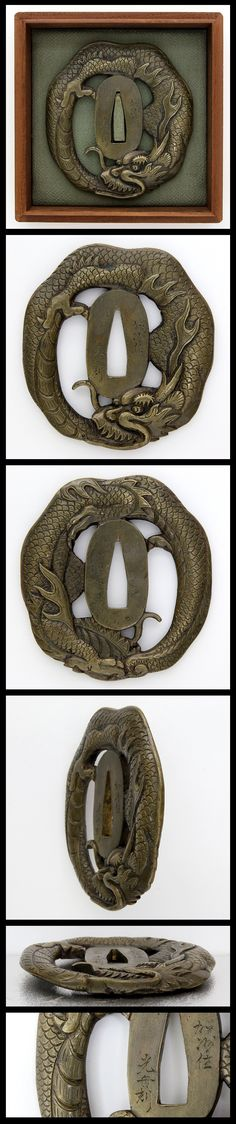 Edo A brass Tsuba, Dragon with a expressive face is carved.