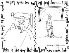 This free coloring page for children is based on Psalm 118:24. Use it to help memorize this scripture or alongside our Bible lesson on this same verse. Click on the preview image above to download ...