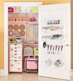 Craft storage closet. Like the peg board on back if the door. I've seen this done using plywood and liquid nails to secure the plywood to the door; then attach anything to the plywood you want (including pegboard)