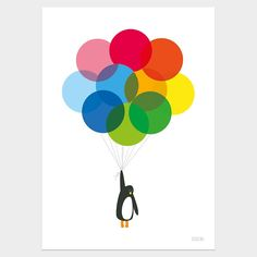 Mr Penguin With Balloons Print