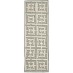 TOO LONG  @Overstock - Update any space with this stylish indoor outdoor area rug. Featuring a geometric pattern of cream on brown, this polypropylene rug is power loomed and resistant to mold, mildew, and the elements. This durable rug is perfect for the poolside or a patio.http://www.overstock.com/Home-Garden/Poolside-Grey-Cream-Indoor-Outdoor-Rug-24-x-67/6641470/product.html?CID=214117 $38.99