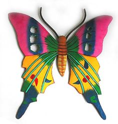 Colorful Butterfly Wall Art - Hand painted metal wall hangings