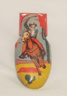 Vintage Tin Litho Cowboy on Horse Noisemaker Clicker Kircchof Metal Toy USA #Kirchof