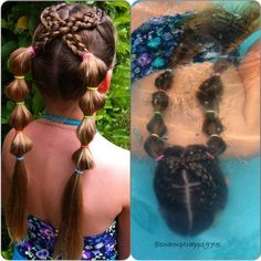 """Today my munchkin wanted a hairstyle inspired by Tamara @ice_braids for swimming. Two five strands into bubble pigtails. Hope everyone if having an…"""