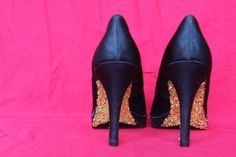 DIY Glitter Heels- may do this to my blush heels that are falling apart