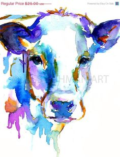 Cow by Jessica Buhman    8 x 10 print of an original watercolor painting on a heavy, bright white card stock. Will be shipped quickly and