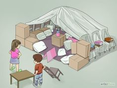 How to Make a Blanket Fort. Blanket forts are easy to build and they provide countless hours of fun for children and adults. You can make your fort with everyday household items like blankets, sheets, chairs, and curtain rods. Sleepover Fort, Sleepover Activities, Fun Sleepover Ideas, Girl Sleepover, Fun Activities, Sofa Fort, Indoor Forts, Indoor Camping, Kids Fort Indoor