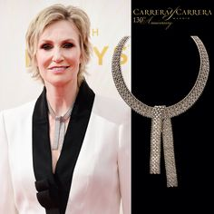 Carrera y Carrera was present at the 67th Annual Primetime Emmy Awards, where the most successful TV actors of the United States gathered at the Microsoft Theater in Los Angeles.   Jane Lynch, famous 'Glee' actress, glowed among the guests suited up in a white tuxedo wearing the marvelous Mosaicos necklace. This high jewelry piece, composed of 558 diamonds carefully carved in white gold, is one of Carrera y Carrera's most precious jewels.