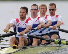 Great Britain's, from left, Chris Bartley, Richard Chambers, Rob Williams and Peter Chambers stroke during a lightweight men's rowing four in Eton Dorney, near Windsor, England, at the 2012 Summer Olympics, Tuesday, July 31, 2012. (AP Photo/Armando Franca)