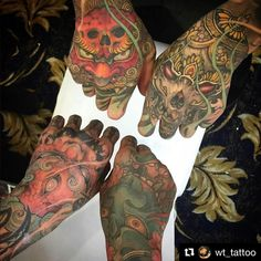 Very nice to meet and work across from Hannya mask by Foodogs & Kappala by… Hand Tats, Hand Tattoos For Guys, Love Tattoos, Beautiful Tattoos, Demon Tattoo, Tattoo Skin, Tattoo Life, Japanese Hand Tattoos, Japanese Tattoo Designs
