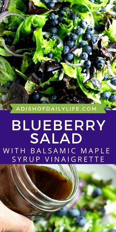 This delicious Blueberry Salad is made with spring mix salad greens, blueberries, feta and thinly sliced red onions. Add some candied nuts to it to dress it up a little! Tossed with a Balsamic Maple Syrup Vinaigrette, it's like a taste of summer in every bite! Of course, you can definitely enjoy this salad any time of year. It's just extra special with farmers market salad greens and blueberries!
