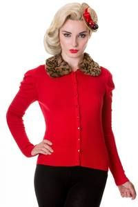 Banned Red Cardigan with Leopard Fur Collar