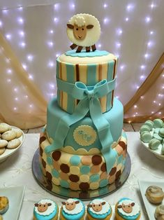 Little Lamb Boy's Baby Shower Themed Party Cake Ideas