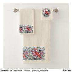 Shop Seashells on the Beach Tropical Bath Towel Set created by Pono_Artworks. Tropical Bath Towels, Tropical Bathroom, Tropical Decor, Spa Towels, Bathroom Towels, Hand Towels, Make A Game, Bath Towel Sets, Budget Bathroom