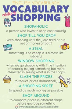 Learn English 451697037624823047 - Here you will learn English Words and Phrases related to shopping. Useful English expressions you need to know. Source by fleurdepaille Learn English Grammar, English Writing Skills, English Vocabulary Words, English Idioms, Learn English Words, English Phrases, English Language Learning, Teaching English, Vocabulary Meaning