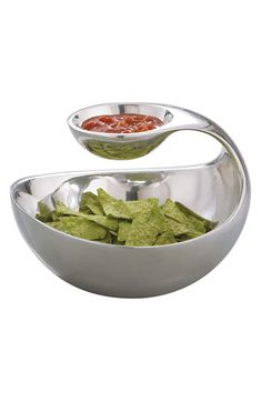 Love this tiered serving dish for chips and dip