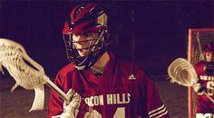 Stiles playing lacrosse