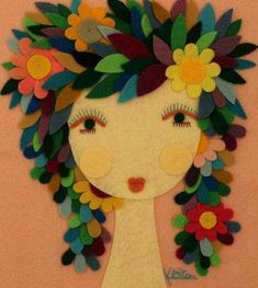 Items similar to Handmade Felt Fairy Girl Woman Portrait Flower Floral Leaves Magical Mystical Unique Feminine Artwork Wall Hanging on Etsy Felt Crafts, Fabric Crafts, Paper Crafts, Crafts For Kids, Arts And Crafts, Felt Leaves, Felt Fairy, Handmade Felt, Etsy Handmade