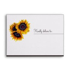 Rustic elegant sunflower barn wood wedding envelope