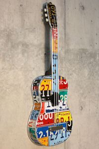 Awesome guitars made out of license plates. Found in Chicago on Michigan Ave. License Plate Crafts, Funny License Plates, License Plate Art, Guitar Painting, Guitar Art, Homemade Instruments, Unique Guitars, Music Pics, Recycled Art
