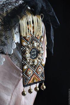 """Купить Браслет """"Геометрия Роскоши"""" - черный, медный, золотистый, бронзовый, широкий браслет, браслет-манжета"""