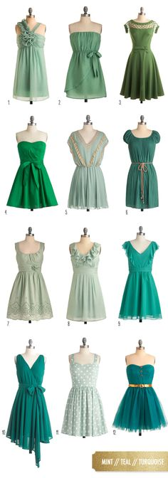 Green bridesmaid dresses from @ModCloth