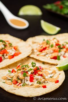 Thai Chicken Tacos -- A healthy, bold and flavorful weeknight meal that comes together in minutes! @Ari Simon's Menu