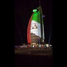 12/14 The Burj Al Arab lights for UAE 43rd National Day  PHOTO:  hilineevents